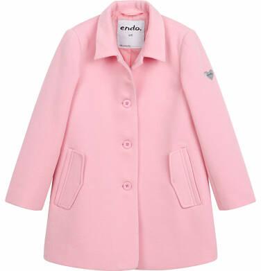 Flauszowy płaszcz wiosenny dla dziewczynki, z kołnierzykiem, różowy, 9-13 lat D03A506_1