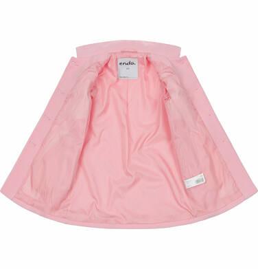 Endo - Flauszowy płaszcz wiosenny dla dziewczynki, z kołnierzykiem, różowy, 9-13 lat D03A506_1