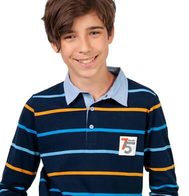 Endo - Koszulka polo z długim rękawem dla chłopca, granatowa w paski, 4-8 lat C03G185_1 24