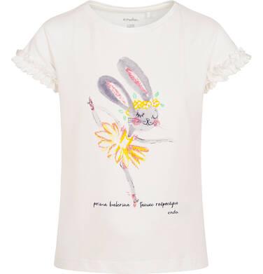 Endo - T-shirt z krótkim rękawem dla dziewczynki, z królikiem, prima balerina, rękawki z falbanką, kremowy, 2-8 lat D06G160_1 12