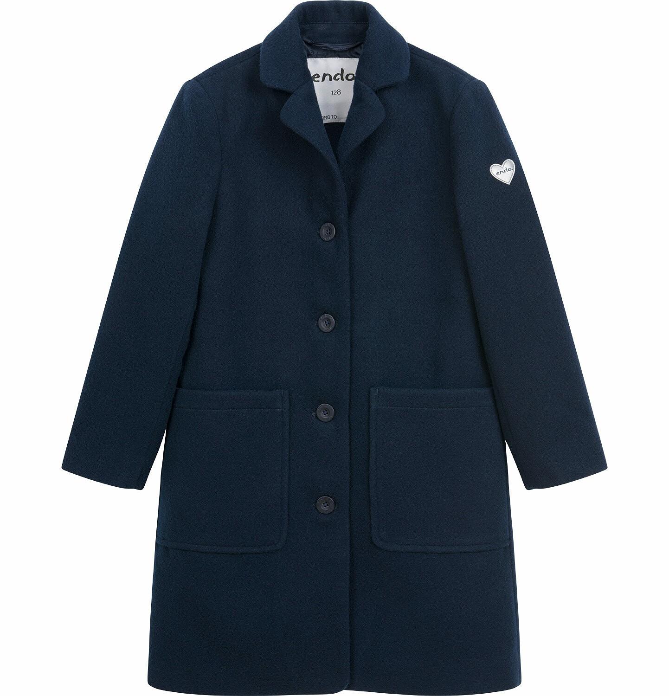 Endo - Flauszowy płaszcz przejściowy dla dziewczynki, z kołnierzykiem, granatowy, 2-8 lat D03A007_2