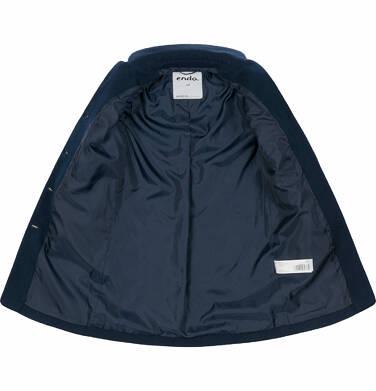 Endo - Flauszowy płaszcz przejściowy dla dziewczynki, z kołnierzykiem, granatowy, 2-8 lat D03A007_2 2