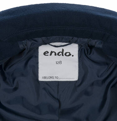 Endo - Flauszowy płaszcz przejściowy dla dziewczynki, z kołnierzykiem, granatowy, 2-8 lat D03A007_2,6