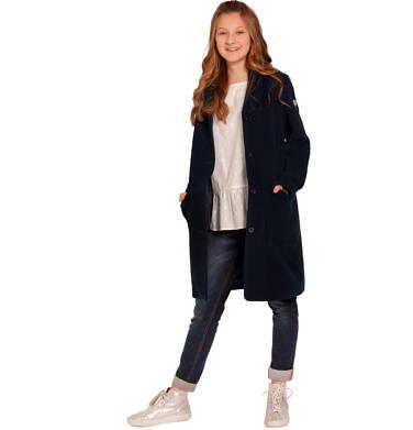 Endo - Flauszowy płaszcz przejściowy dla dziewczynki, z kołnierzykiem, granatowy, 2-8 lat D03A007_2,2