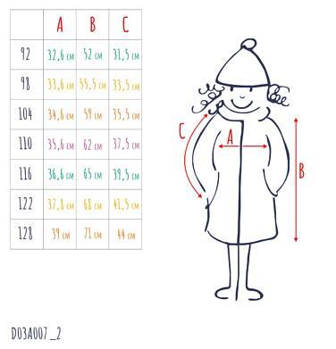 Endo - Flauszowy płaszcz przejściowy dla dziewczynki, z kołnierzykiem, granatowy, 2-8 lat D03A007_2,3