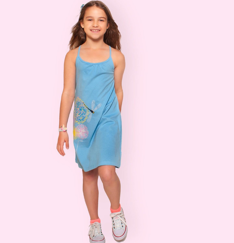 Endo - Letnia sukienka na ramiączkach dla dziewczynki, z kwiatami i ważką, błękitna, 3-8 lat D06H010_1
