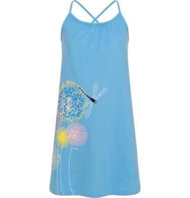 Endo - Letnia sukienka na ramiączkach dla dziewczynki, z kwiatami i ważką, błękitna, 3-8 lat D06H010_1,4