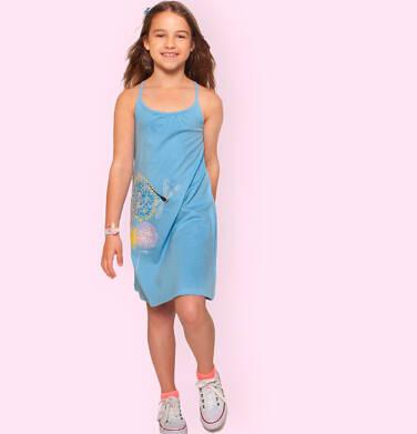 Endo - Letnia sukienka na ramiączkach dla dziewczynki, z kwiatami i ważką, błękitna, 3-8 lat D06H010_1,1