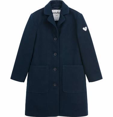 Endo - Flauszowy płaszcz wiosenny dla dziewczynki, z kołnierzykiem, granatowy, 9-13 lat D03A507_2