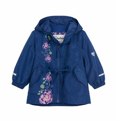 Wiosenna kurtka dla dziecka do 2 lat, z motywem kwiatów, granatowa N03A005_1