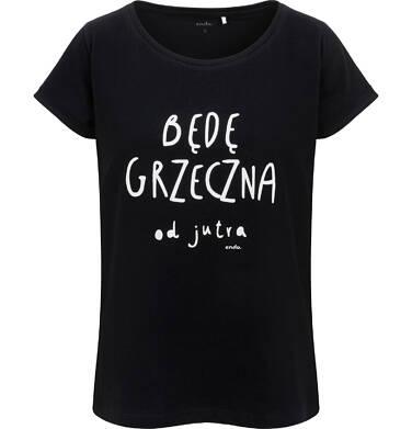 Endo - Damski t-shirt z napisem będę grzeczna od jutra, czarny Y06G003_1 2