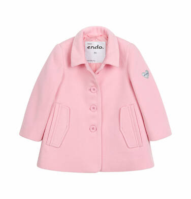 Endo - Flauszowy płaszcz dla dziecka do 2 lat, z kołnierzykiem, różowy N03A007_1 1
