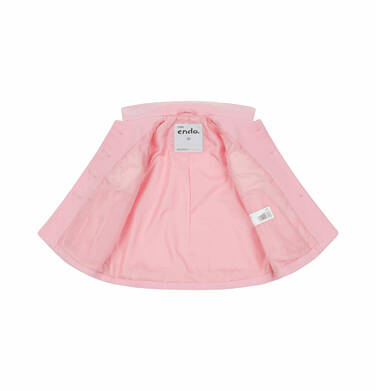 Endo - Flauszowy płaszcz dla dziecka do 2 lat, z kołnierzykiem, różowy N03A007_1