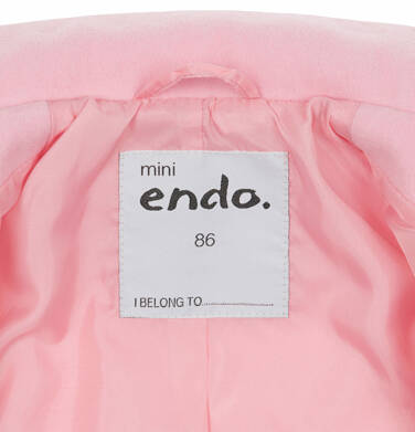 Endo - Flauszowy płaszcz dla dziecka do 2 lat, z kołnierzykiem, różowy N03A007_1,5