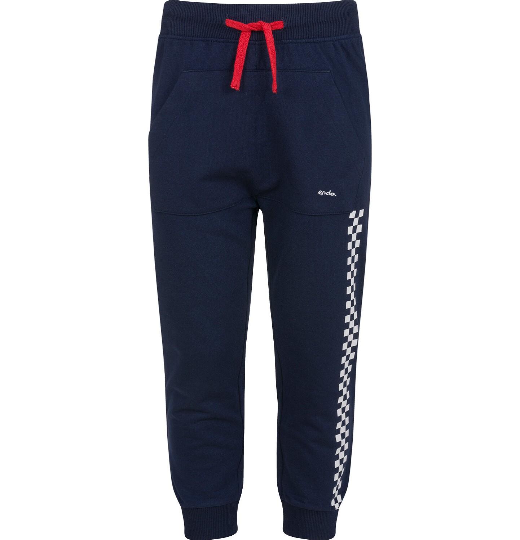 Endo - Spodnie dresowe dla chłopca, z paskiem z boku, granatowe, 2-8 lat C03K055_1