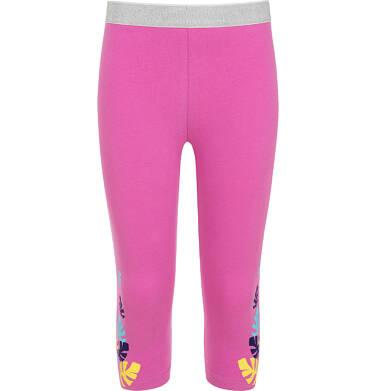 Endo - Legginsy 3/4 dla dziewczynki, różowe z kolorowymi listkami, 2-8 lat D06K035_3 1