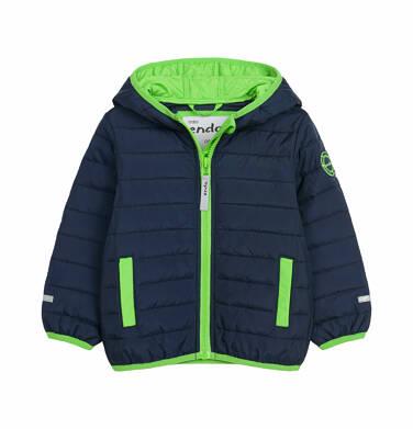 Pikowana kurtka dla dziecka do 2 lat, kontrastowa podszewka, granatowa N03A009_1