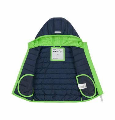 Endo - Pikowana kurtka dla dziecka do 2 lat, kontrastowa podszewka, granatowa N03A009_1