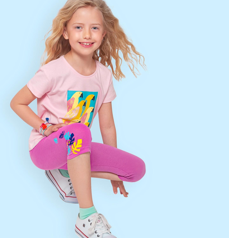 Endo - Legginsy 3/4 dla dziewczynki, różowe z kolorowymi listkami, 9-13 lat D06K051_3