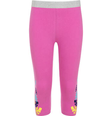 Endo - Legginsy 3/4 dla dziewczynki, różowe z kolorowymi listkami, 9-13 lat D06K051_3 4