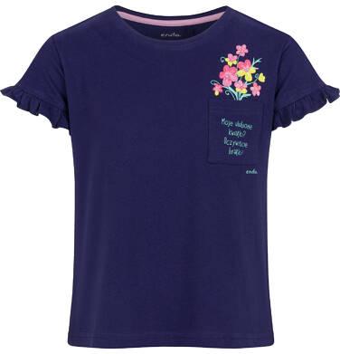 Endo - Bluzka z krótkim rękawem dla dziewczynki, z kieszonką, granatowa, 2-8 lat D03G110_2 3