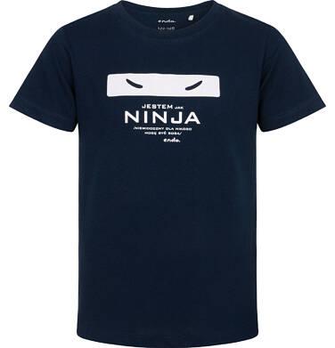 Endo - T-shirt z krótkim rękawem dla chłopca, jestem jak ninja, granatowy, 9-13 lat C06G141_1 220