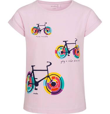 Endo - T shirt z krótkim rękawem dla dziewczynki, w kolorowe rowery, różowy, 2-8 lat D05G164_1 10
