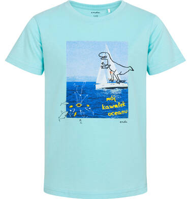 Endo - T-shirt z krótkim rękawem dla chłopca,  z żaglówką, niebieska, 9-13 lat C06G061_2 8