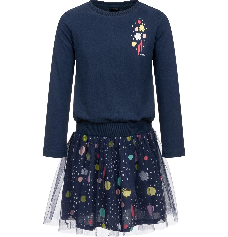 Endo - Sukienka z długim rękawem i tiulowym dołem, granatowa z motywem kwiatów, 4-8 lat D03H059_1