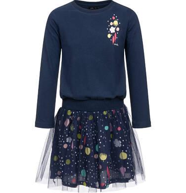 Endo - Sukienka z długim rękawem i tiulowym dołem, granatowa z motywem kwiatów, 4-8 lat D03H059_1,1