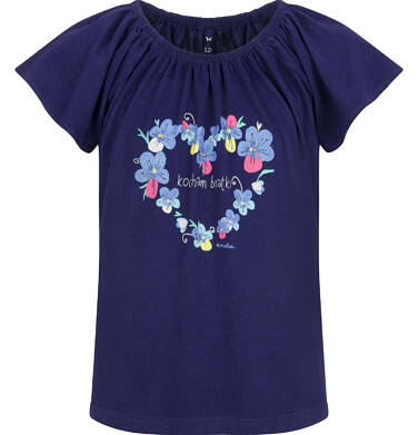 Endo - Bluzka z krótkim rękawem dla dziewczynki, z sercem, granatowa, 2-8 lat D03G114_1 2