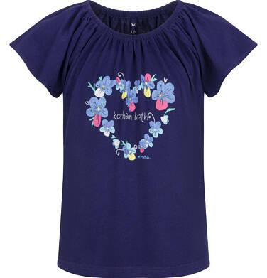 Endo - Bluzka z krótkim rękawem dla dziewczynki, z sercem, granatowa, 9-13 lat D03G614_1 65