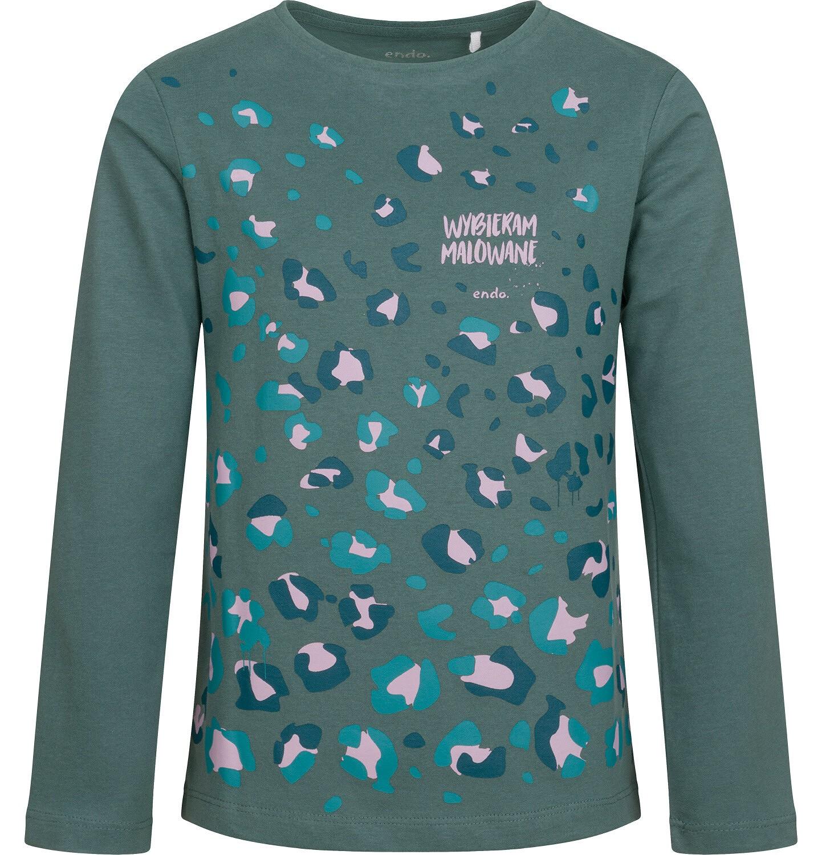 Endo - Bluzka dla dziewczynki z długim rękawem, kolorowy deseń, 9-13 lat D04G033_1