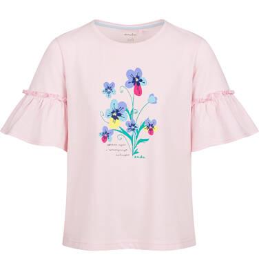 Endo - Bluzka z krótkim rękawem dla dziewczynki, kwiatowy motyw, różowa, 2-8 lat D03G120_1 1