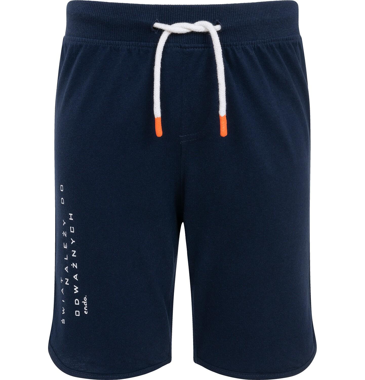 Endo - Krótkie spodenki dla chłopca, z napisem na nogawce, granatowe, 9-13 lat C06K003_2