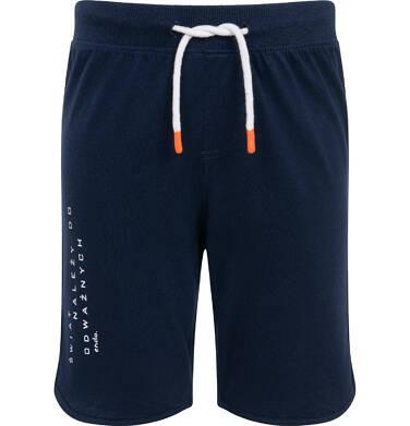 Endo - Krótkie spodenki dla chłopca, z napisem na nogawce, granatowe, 9-13 lat C06K003_2 7