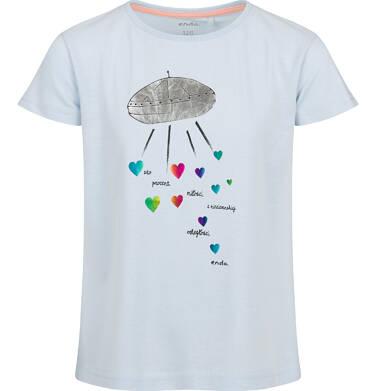 Endo - Bluzka z krótkim rękawem dla dziewczynki, ze statkiem kosmicznym, niebieska, 2-8 lat D03G125_1 139