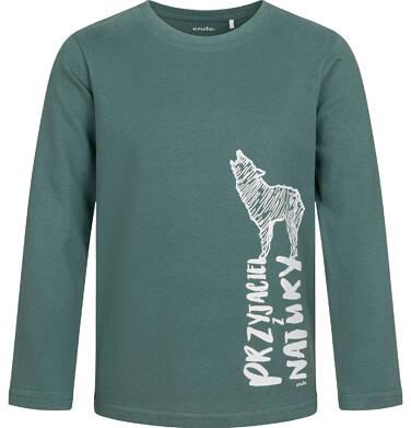 Endo - T-shirt z długim rękawem dla chłopca, z wilkiem, zielony, 9-13 lat C04G067_1 31