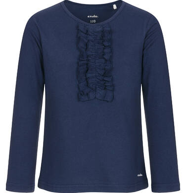 Endo - Bluzka z długim rękawem dla dziewczynki, z falbankami, granatowa, 3-8 lat D92G005_2