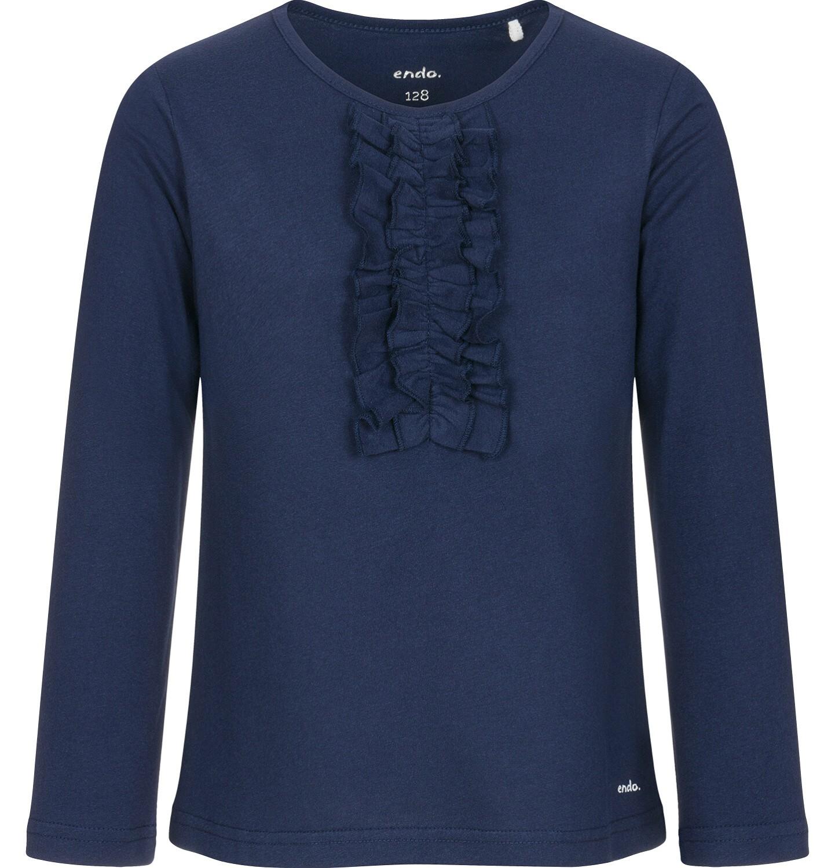 Endo - Bluzka z długim rękawem dla dziewczynki, z falbankami, granatowa, 9-13 lat D92G505_2