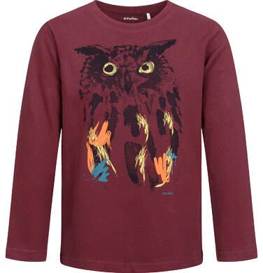 Endo - T-shirt z długim rękawem dla chłopca, z sową, bordowy, 9-13 lat C04G075_1 11
