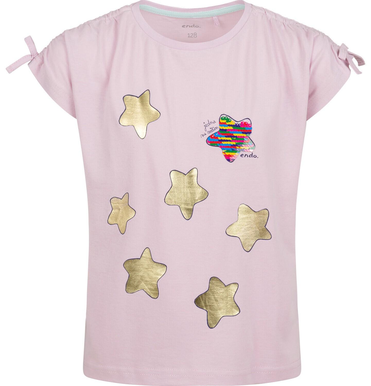 Endo - Bluzka z krótkim rękawem dla dziewczynki, w gwiazdy, różowa, 9-13 lat D03G630_1