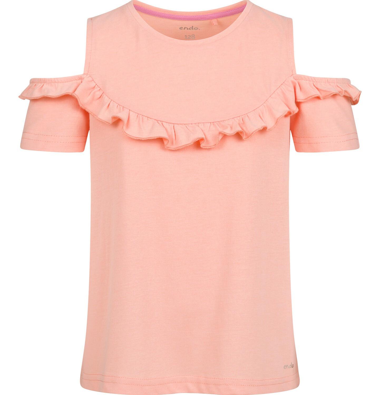 Endo - Bluzka z krótkim rękawem dla dziewczynki, z odsłoniętymi ramiona, pomarańczowa, 2-8 lat D03G159_2