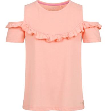 Endo - Bluzka z krótkim rękawem dla dziewczynki, z odsłoniętymi ramiona, pomarańczowa, 2-8 lat D03G159_2 5
