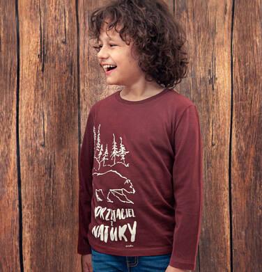 Endo - T-shirt z długim rękawem dla chłopca, z misiem, bordowy, 2-8 lat C04G092_1 19