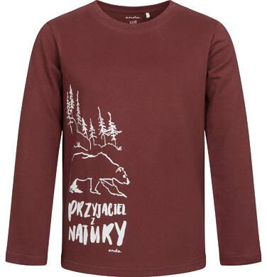 Endo - T-shirt z długim rękawem dla chłopca, z misiem, bordowy, 2-8 lat C04G092_1 40