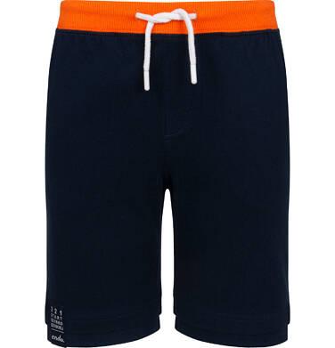Endo - Krótkie spodenki dla chłopca, z naszywką na dole nogawki, granatowe, 9-13 lat C06K008_1 5