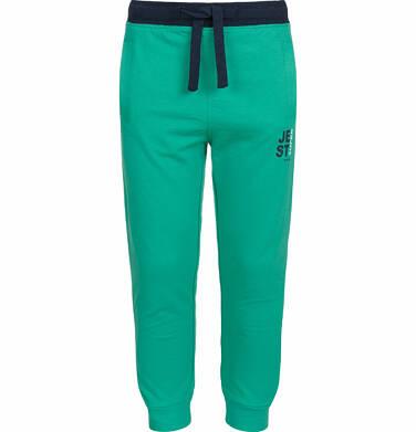 Spodnie dresowe dla chłopca, kontrastowe ściągacze, zielone, 9-13 lat C03K525_4