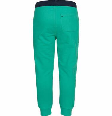 Endo - Spodnie dresowe dla chłopca, kontrastowe ściągacze, zielone, 9-13 lat C03K525_4,3