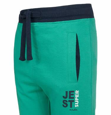 Endo - Spodnie dresowe dla chłopca, kontrastowe ściągacze, zielone, 9-13 lat C03K525_4,2